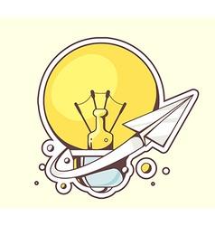 paper plane flying around yellow lightbul vector image
