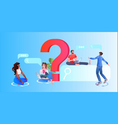 people standing near question mark online vector image