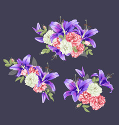 Pink rose and violet lily vector
