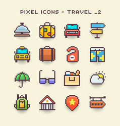 Pixel icons-travel 2 vector