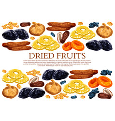 Poster of dried fruits snacks vector