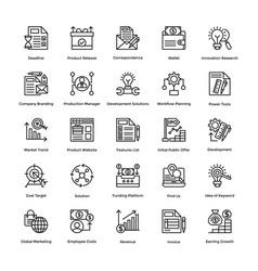 project management line icons set 20 vector image
