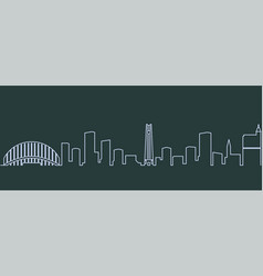 raleigh single line skyline vector image