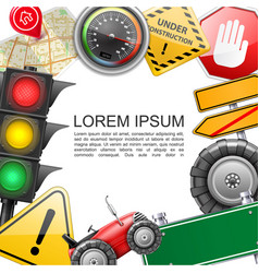 realistic traffic elements template vector image