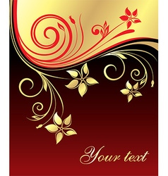 Red and Gold Floral Design vector image