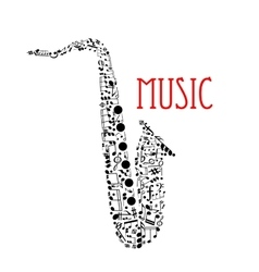 Saxophone with musical notes for music design vector image