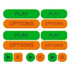 Set game bright button options and play in green vector
