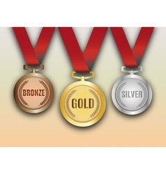 Set of gold silver and bronze medals vector image