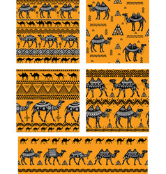 set of seamless pattern with camels vector image