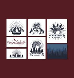 Set six designs scenes wanderlust and icons vector