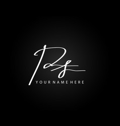 signature logo p and s ps initial letter elegant vector image