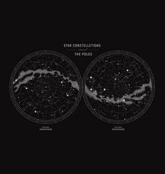 Star constellations around poles vector