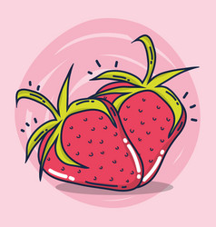 Strawberries fruit cartoon vector