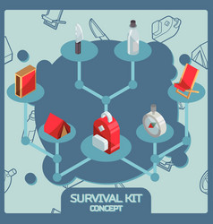 Survival kit color isometric concept icons vector