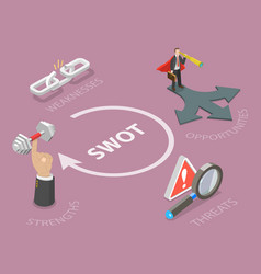 swot flat isometric concept vector image