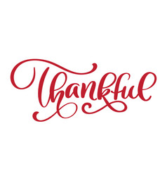Thankful handwritten inscription hand drawn thank vector