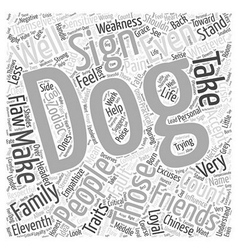 Traits of the dog word cloud concept vector