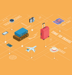 Travel equipment in isometric style travel and vector