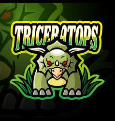 Triceratops esport logo mascot design vector