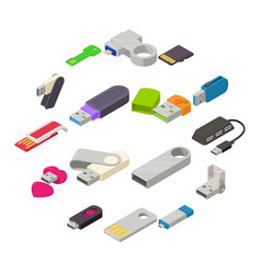 usb flash drive icons set isometric style vector image