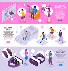 Virtual reality isometric banners vector