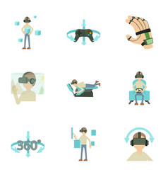 vr icons set cartoon style vector image