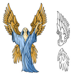 Winged angel vector
