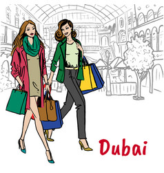 Women in shopping mall vector