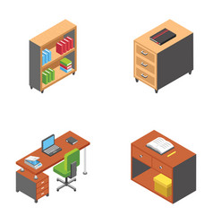 Working desks icons pack vector