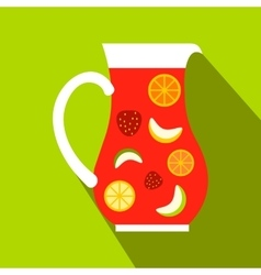 Jar and glass of fresh sangria icon flat style vector image vector image