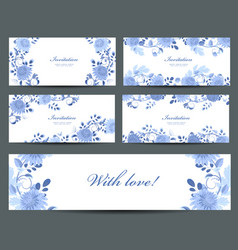 monochrome collection of greeting cards with blue vector image vector image