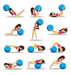 set of exercise ball workouts design vector image vector image