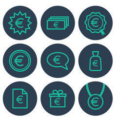 set of icons about money with euro symbols vector image