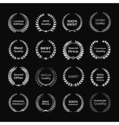 Set of silver metallic laurel wreath or frame Bay vector image