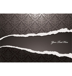 torn damask wallpaper vector image