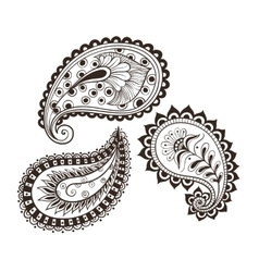 hand-drawing set paisley vector image vector image