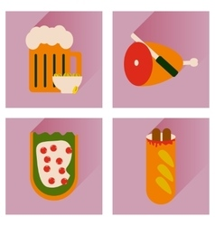 set flat icons with long shadow snacks for vector image vector image