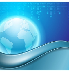 Stream of binary code with the globe vector image