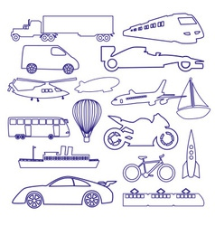 transportation outline blue simple icons set eps10 vector image vector image