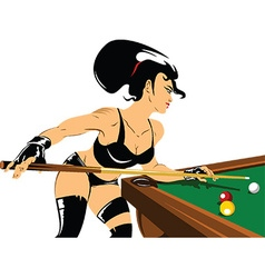 Woman playing snooker vector image vector image