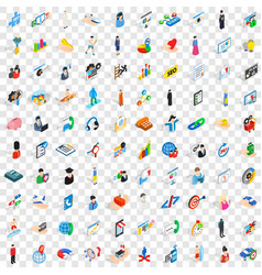 100 human resource icons set isometric 3d style vector image vector image