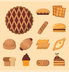 cookie cakes isolated tasty snack delicious vector image