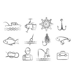 fishing doodle icons vector image vector image