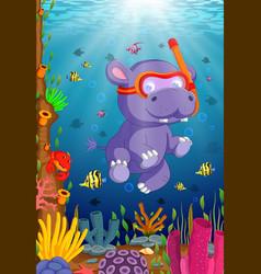 hippo snorkeling in underwater sea vector image vector image
