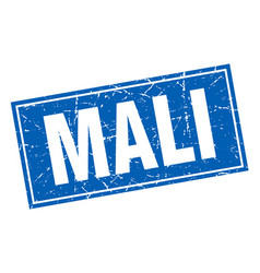 Mali blue square grunge vintage isolated stamp vector