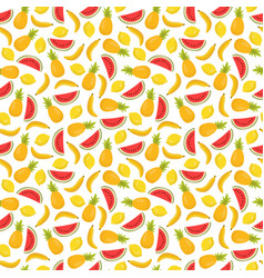 seamless pattern with bananas pineapples and vector image