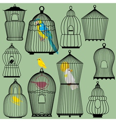 Set of decorative bird cage silhouettes and birds vector