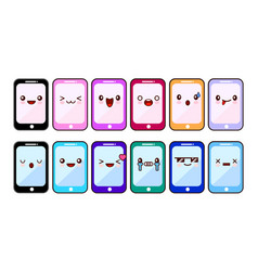 smartphone cartoon characters funny faces set of vector image