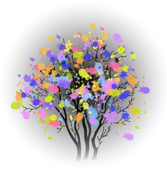 tree with colorful spots vector image vector image