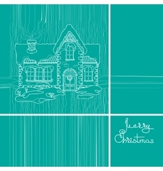 Christmas house and handwritten words vector image